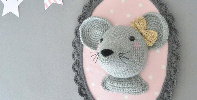 Trophée souris gris/rose