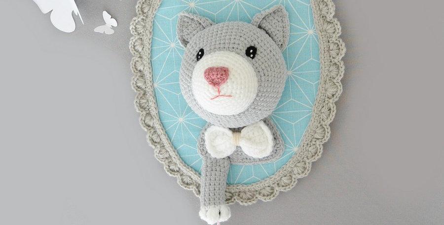 Trophée chat et souris gris/turquoise