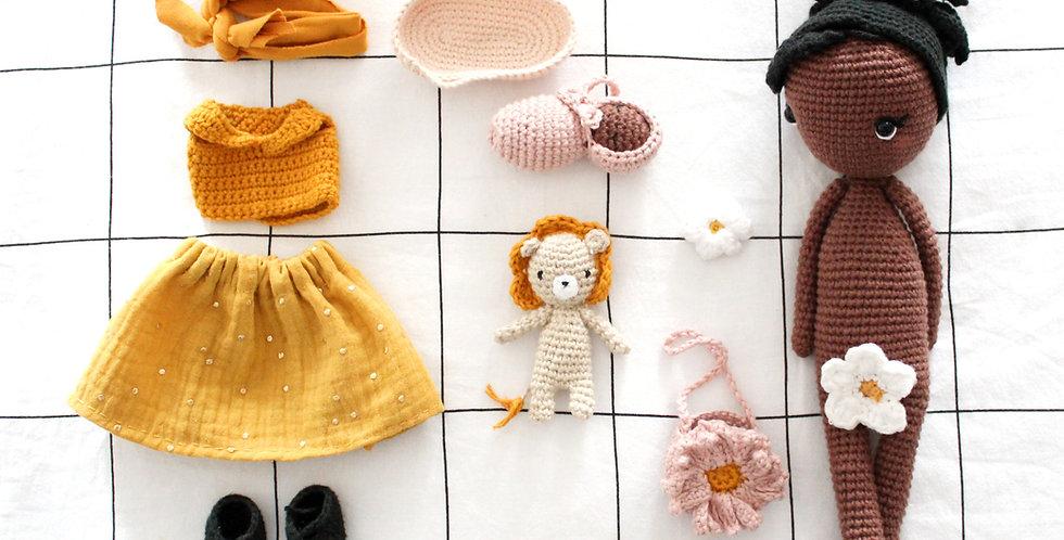 KIT complet Poupée Câline + Tenue et accessoires + Félin + bébé au crochet