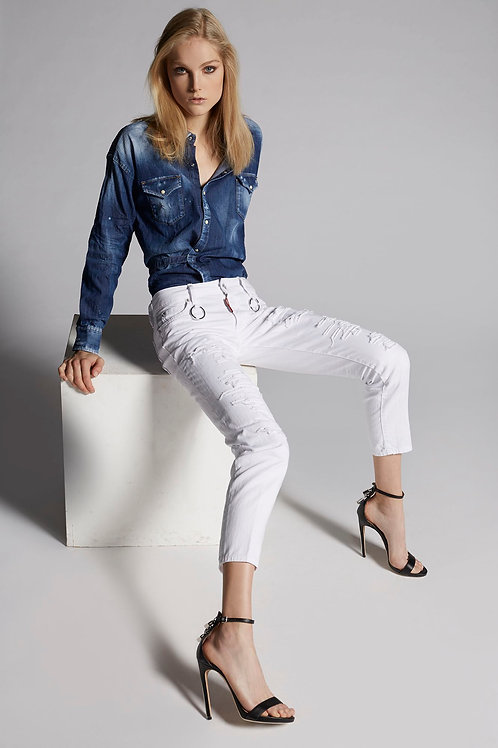 DSQUARED2 - SOLID COLORED RIP RUNWAY STRAIGHT CROPPED JEANS