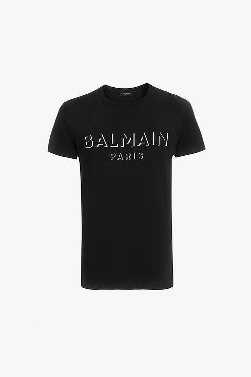 Black cotton T-shirt with white 3D-effect Balmain Paris logo