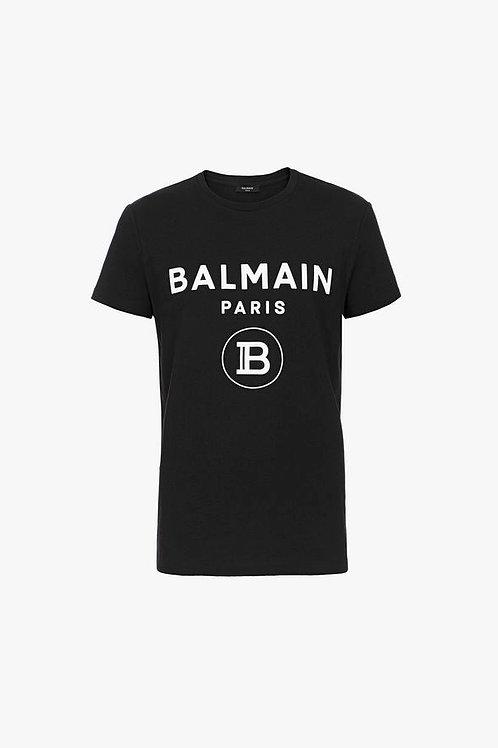 Black cotton T-shirt with white velvet Balmain Paris logo