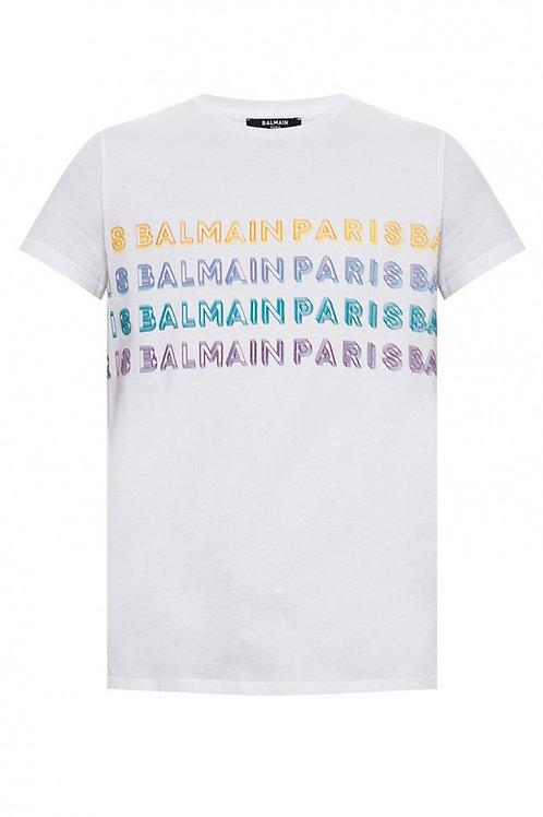 Balmain Multicolour Logo T-Shirt in white