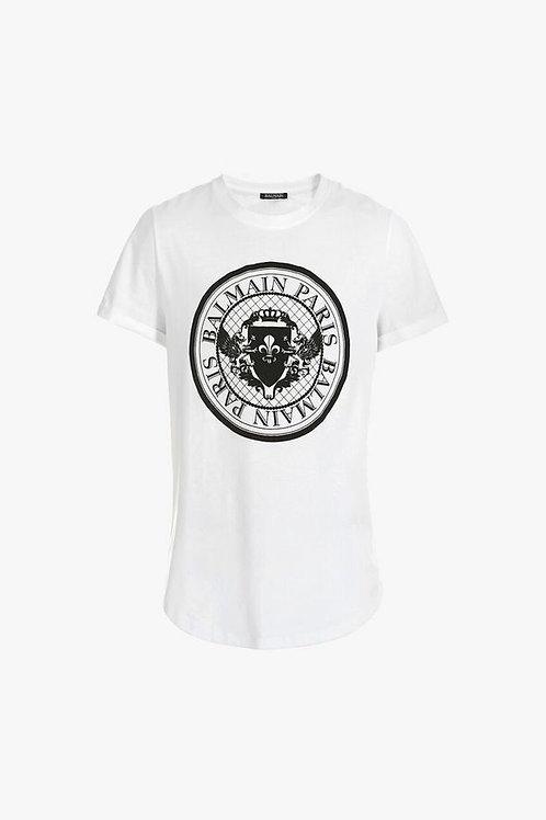 Cotton T-shirt with Balmain medallion print