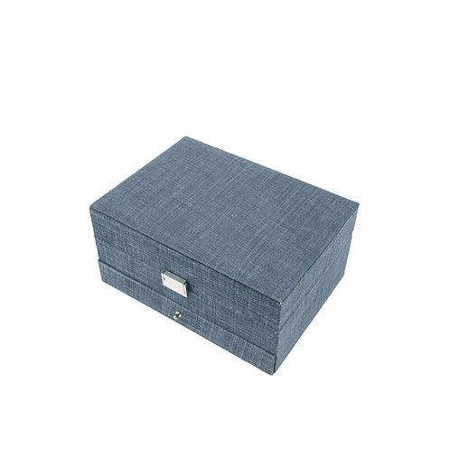 Belgian linen jewelry box, Midnight blue
