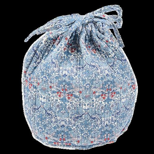 Round pouch, Strawberry thief blue