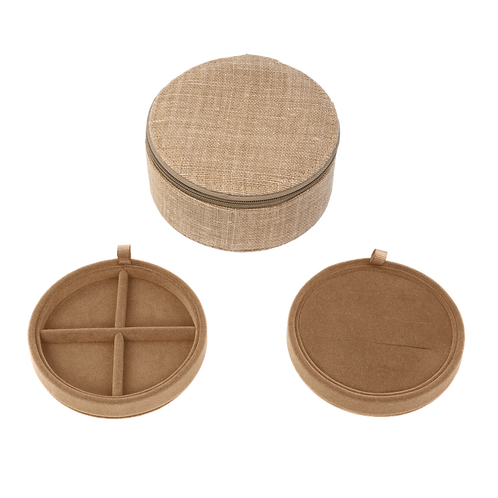 Belgian linen round jewelry box, Bronze