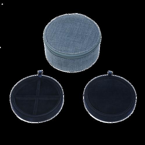 Belgian linen round jewelry box, Midnight blue