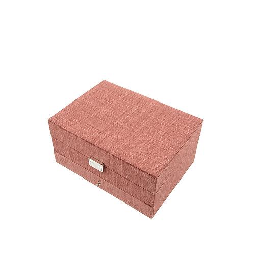 Belgian linen jewelry box, Bordeaux