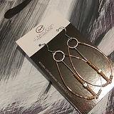 Dangle copper & silver earrings