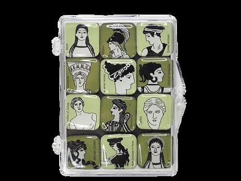 Greek Beauty - set 12 epoxy magnets