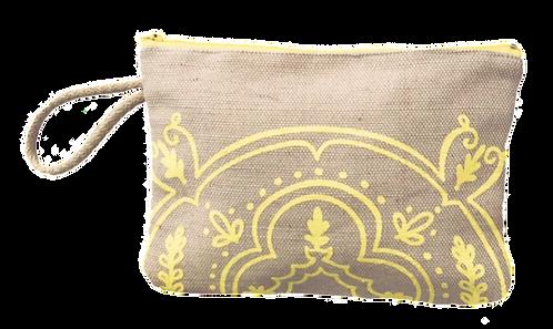 Yellow motif  - Jute pouch