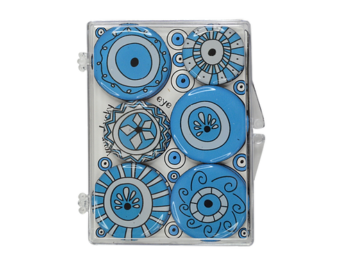 Greek Eyes - set 6 epoxy magnets