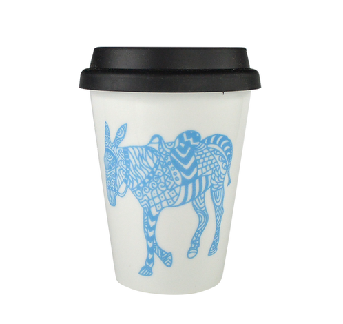 Double Porcelain Coffee-to-go Mug - Donkey