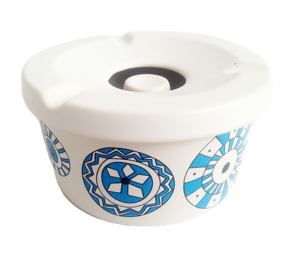 Handmade Ceramic Ashtray with lid- Evil Eye