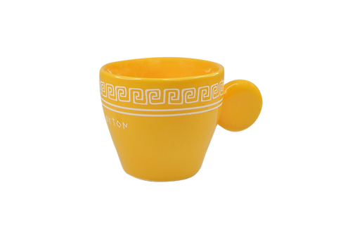 Yellow Meander - Handmade ceramic espresso cup