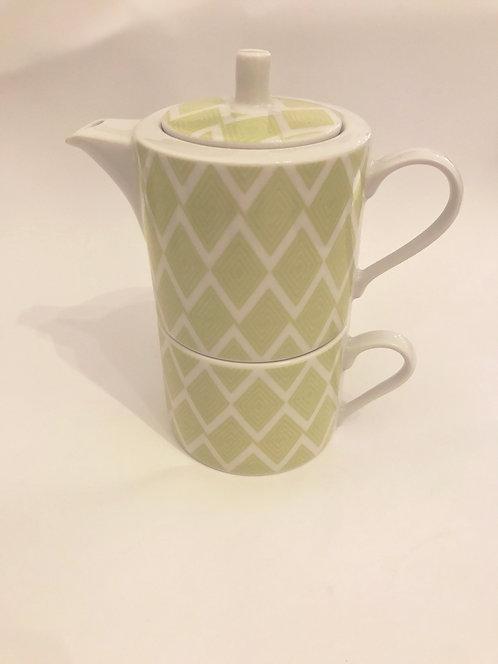 Tea set (pot & cup) green meander