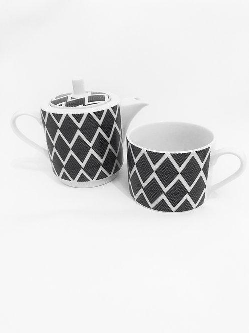 Tea set (pot & cup) black meander