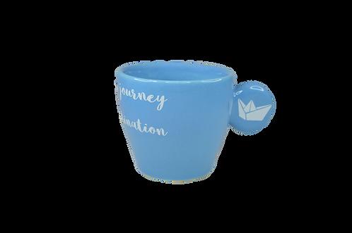 Life/Cyan - Handmade ceramic espresso cup