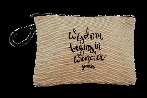 Jute pouch - Wisdom begins in wonder