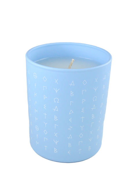 Ancient Greek Alphabet Candle - scented Fig leaf