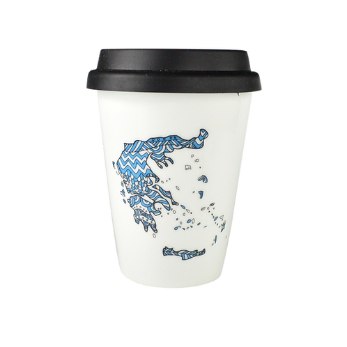 Double Porcelain Coffee-to-go Mug - Map of Greece