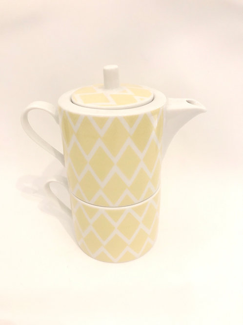 Tea set (pot & cup) Yellow meander