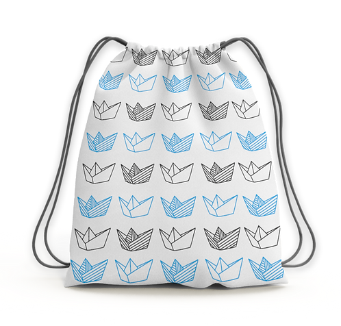 Origami Boats - drawstring backpack