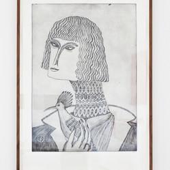 Woman with hoopoe  2018 108 x 76 cm