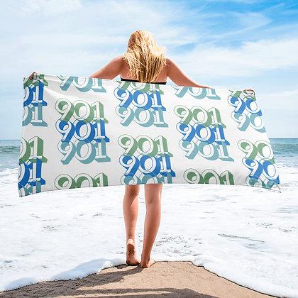 """Tri-901"" Blue/Green on a White Towel"
