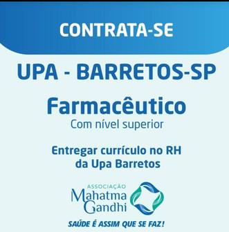 UPA BARRETOS-SP CONTRATA FARMACÊUTICO