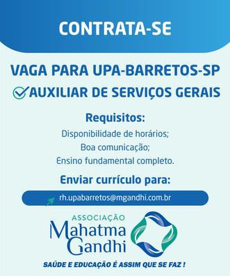 CONTRATA-SE AUXILIAR DE SERVIÇOS GERAIS PARA UPA DE BARRETOS-SP