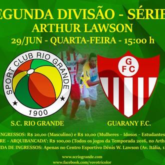 Próximo Foot-Ball Match, em duelo de 'vida ou morte', Veterano Rio Grande recebe o Guarany d