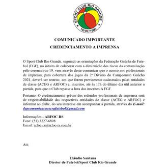 SPORT CLUB RIO GRANDE - CREDENCIAMENTO A IMPRENSA