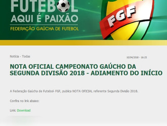 Federação Gaúcha de Futebol emite Nota adiando a Segunda Divisão Gaúcha