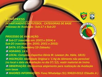 Processo de Avaliação de jovens atletas acontece neste sábado (07/12)