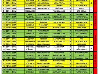 Federação Gaúcha de Futebol divulga carnê de jogos da 1º Fase da Segunda Divisão Gaúcha - Série B -