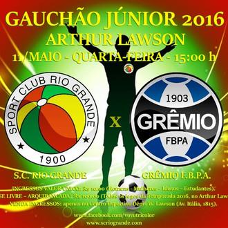 Estadual Júnior, Veterano Rio Grande enfrenta o Grêmio FBPA, nesta Quarta-feira (11/Maio)...