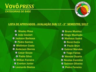 Departamento de Futebol divulga 'Lista de Aprovados' na Categoria Sub-17