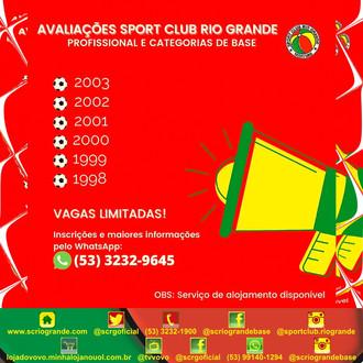 ATENÇÃO!!! SC Rio Grande realiza avaliações de Atletas