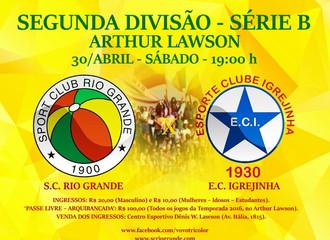 Próximo Foot-Ball Match, no Sábado (30/Abril), Rio Grande recebe o Igrejinha...