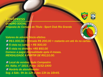 Conheça a Proposta de adesão ao Quadro Social do S.C. Rio Grande
