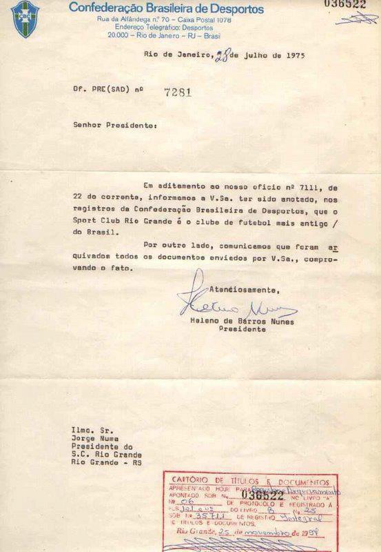 Oficio Pré (SAD) nº 7281 - Emitido pela Confederação Brasileira de Desportos CBD