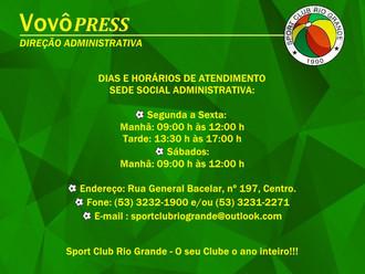 Sede Social Administrativa do S.C. Rio Grande, agora com expediente aos sábados