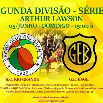 Próximo Foot-Ball Match, em busca da classificação, Veterano Rio Grande recebe o Bagé, no Arthur Law