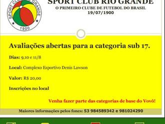 Sport Club Rio Grande promove avaliações para o Sub-17
