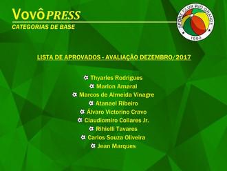 Departamento de Futebol divulga 'Lista de Aprovados', avaliação Dezembro/17