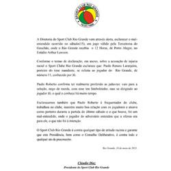 NOTA - SPORT CLUB RIO GRANDE