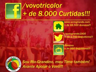 Fanpage Oficial do S.C. Rio Grande no facebook conquista + de 8.000 Curtidas!!!