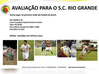 Sport Club Rio Grande realiza 'Avaliação de Atletas' neste sábado (04/08)